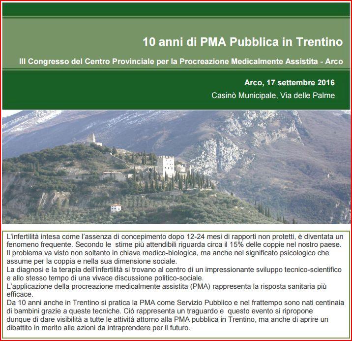 10 anni di PMA pubblica in Trentino
